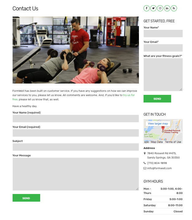 Contact Formwell Fitness, anytime