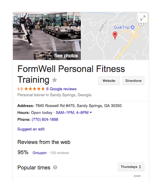 Formwell in Google Business listings