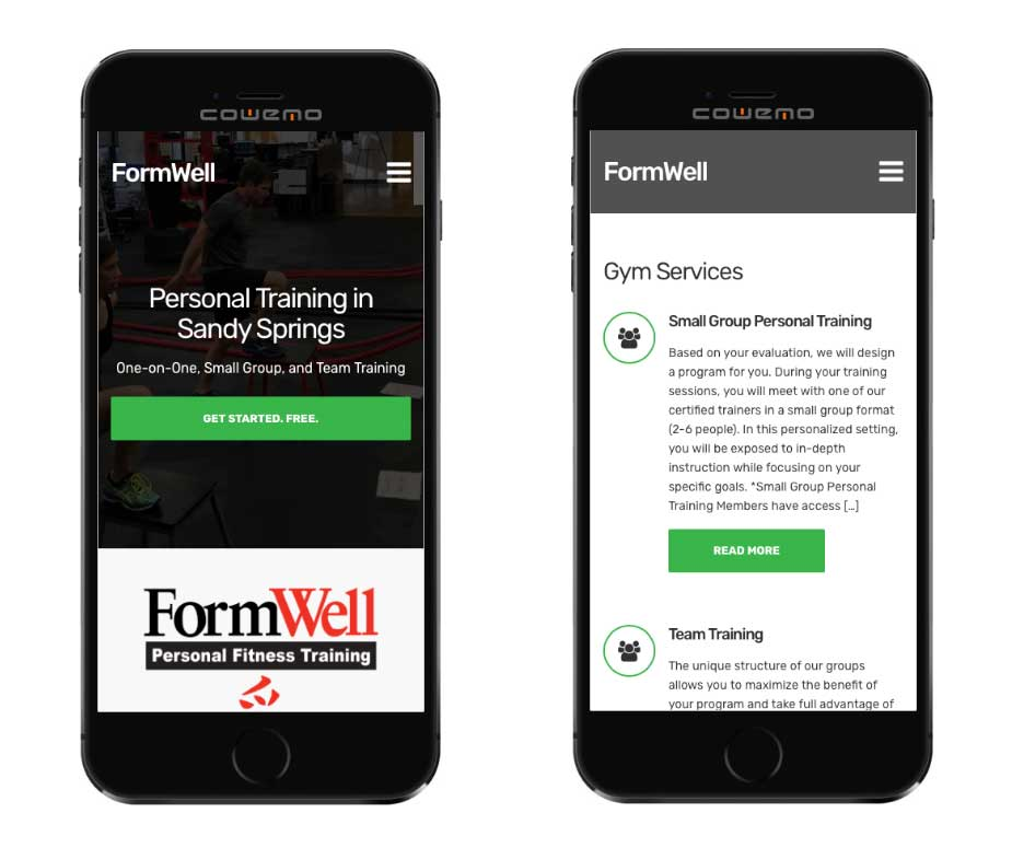 Formwell on mobile devices